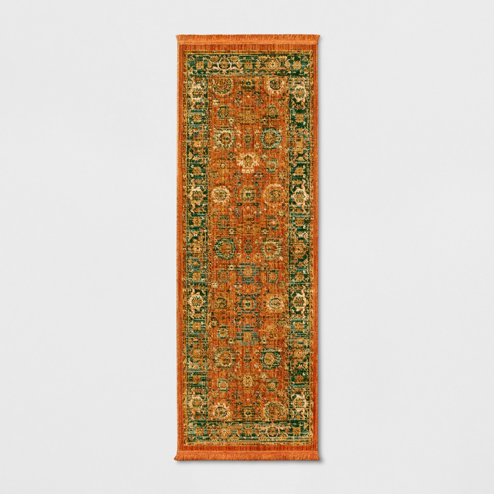 2'4X7' Floral Woven Accent Rugs Spiced Orange - Threshold
