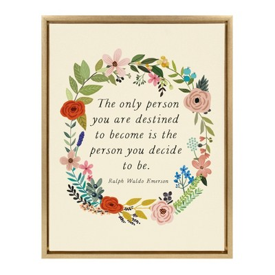 """18"""" x 24"""" Sylvie The Only Person Framed Canvas Wall Art by Mia Charro Gold - Kate and Laurel"""