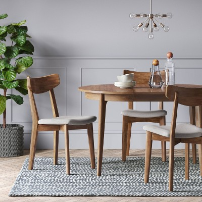 Astrid Mid Century Round Dining Table With Extension Leaf Brown   Project  62™