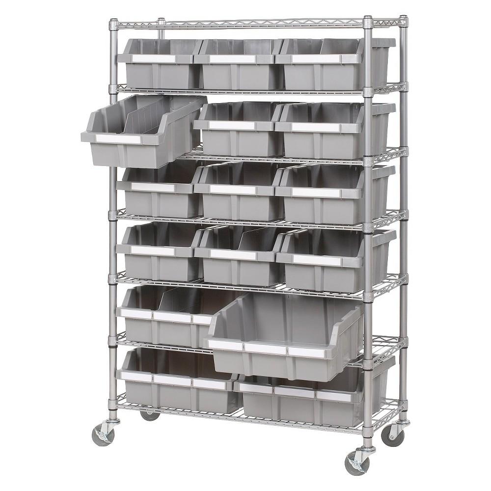 Seville 7-Shelf Commercial Bin Rack System - Silver