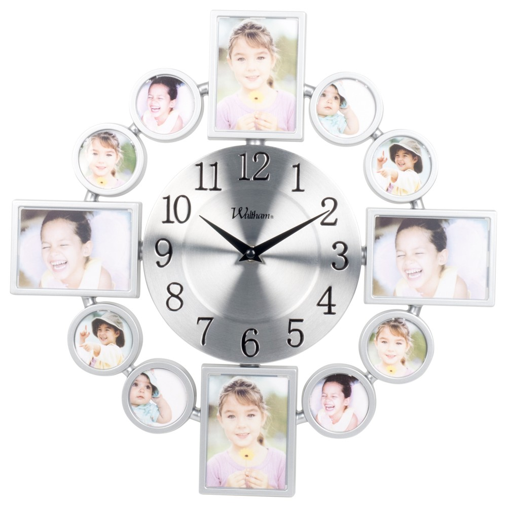 "Image of ""15"""" Wall Clock with 12 Photo Openings"""
