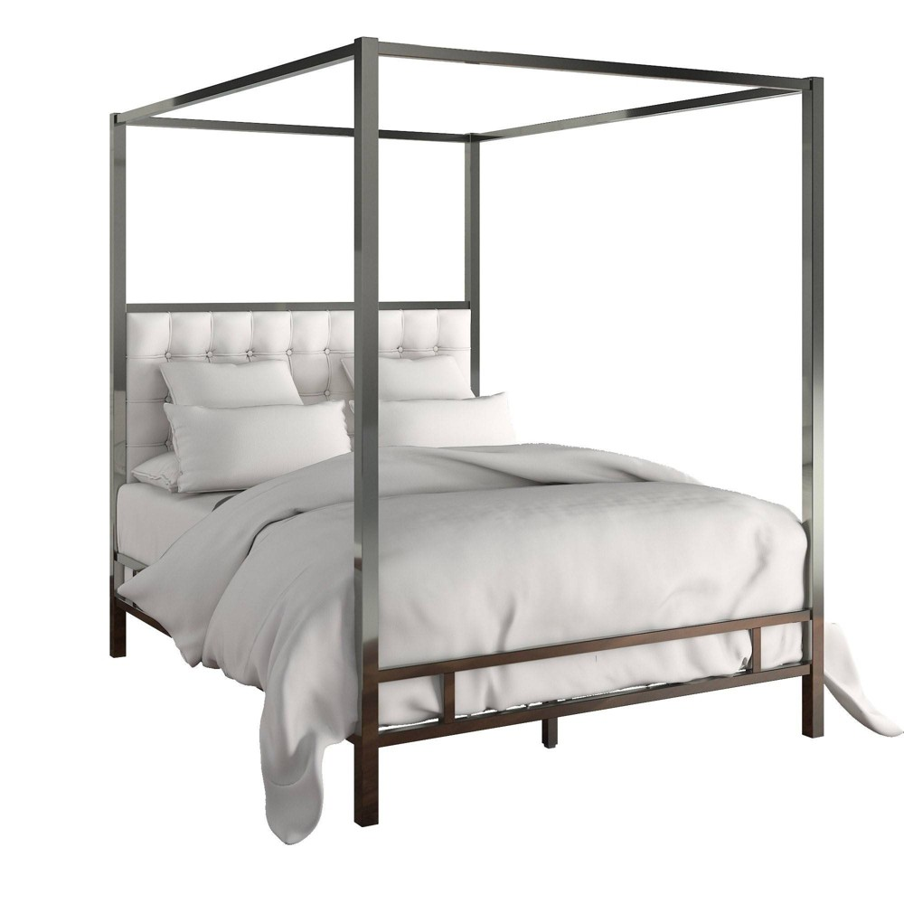 Queen Manhattan Black Nickel Canopy Bed with Biscuit Tufted Headboard White - Inspire Q