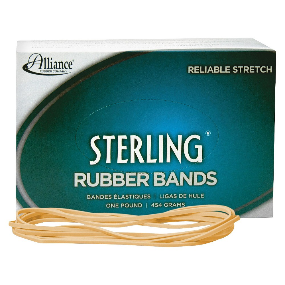 Image of Alliance Sterling Ergonomically Correct Rubber Bands, #117B, 7 x 1/8, 250 Bands/1lb Box, Beige