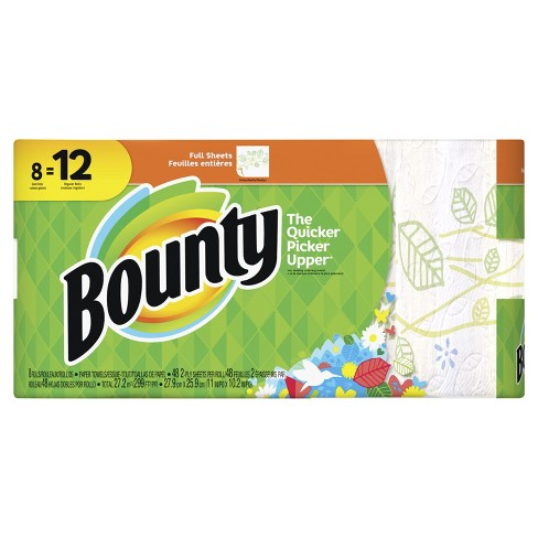 Bounty Floral Printed Full Sheet Paper Towels - 8 Giant Rolls - image 1 of 10