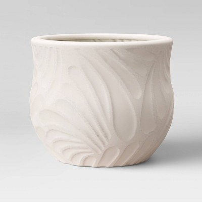 10  Stoneware Carved Floral Planter White - Opalhouse™