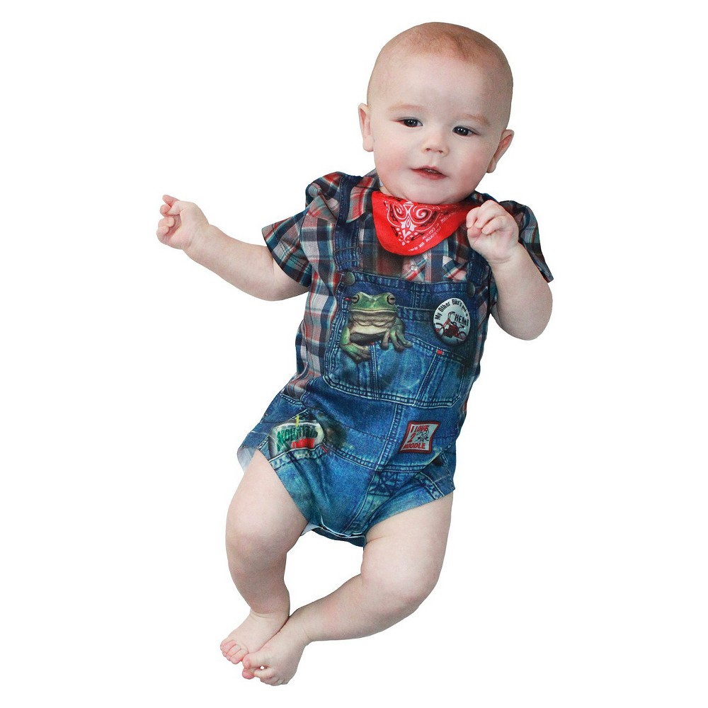 Image of Halloween Baby Kids' Hillbilly Romper Costume 3-6 Months, Men's, Size: 3-6M, Blue