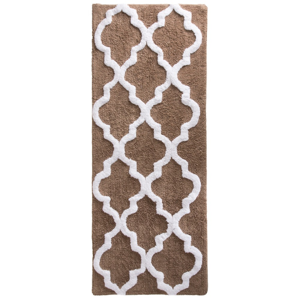 Trellis Bath Mat Taupe (Brown) - Yorkshire Home
