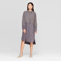 Women's Long Sleeve Relaxed Fit Collared Midi Shirtdress - Prologue™