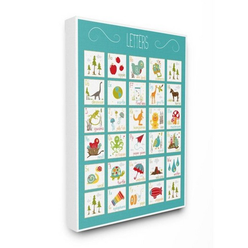 Kids Alphabet Letter Chart Aqua Stretched Canvas Wall Art - Stupell Industries - image 1 of 1