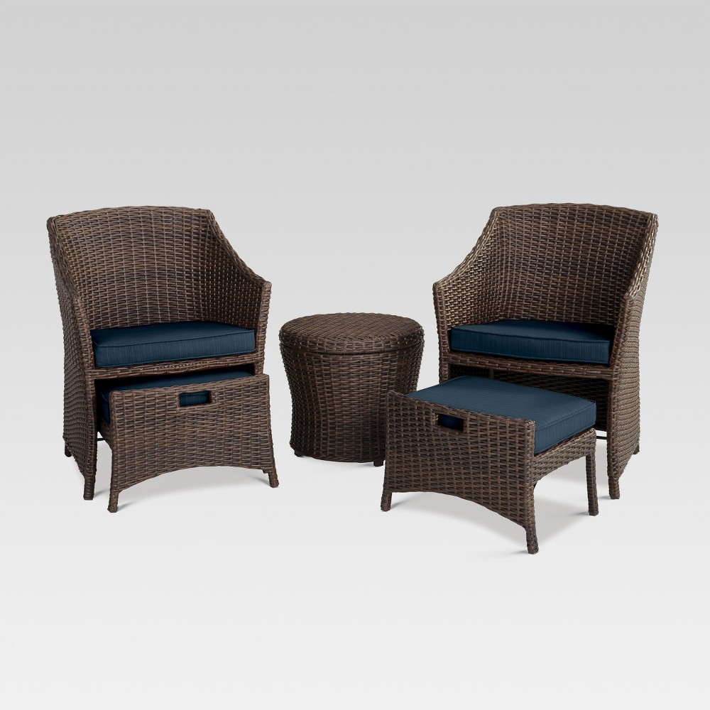 Belvedere 5pc All-Weather Wicker Patio Chat Set - Navy (Blue) - Threshold