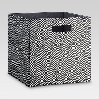 Fabric Cube Storage Bin 13  - Black Diamond Pattern - Threshold™