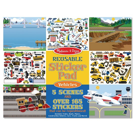 Melissa & Doug Reusable Sticker Pads Set: Habitats, Vehicles, Town: 115 Stickers image number null