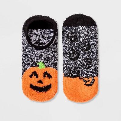 Women's Pumpkin Cozy Halloween Pull-On Liner Socks - Hyde & EEK! Boutique™ Black/Orange 4-10