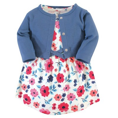 Touched by Nature Baby and Toddler Girl Organic Cotton Dress and Cardigan 2pc Set, Garden Floral