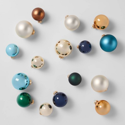 42ct Round Glass Ornaments Teal Gold Copper & Navy - Wondershop™