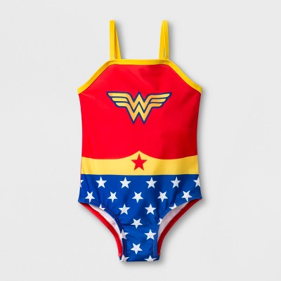 Toddler Girls' DC Comics Wonder Woman One Piece Swimsuit - Red 3T