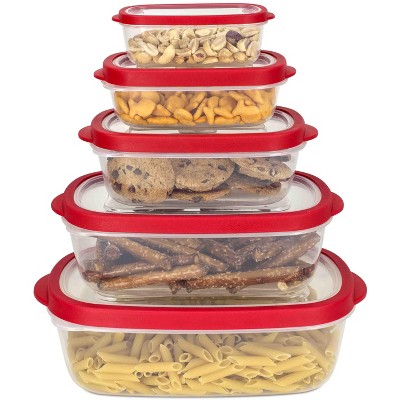 Home Basics 5 Piece Spill-Proof  Rectangle Plastic Food Storage  Container with Ventilated, Snap-On  Lids, Red