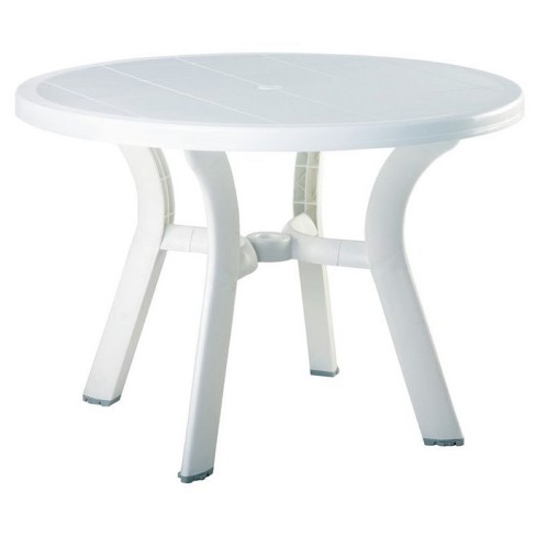 """Rubber 42"""""""" Round Resin Patio Dining Table in White-Pemberly Row - image 1 of 1"""