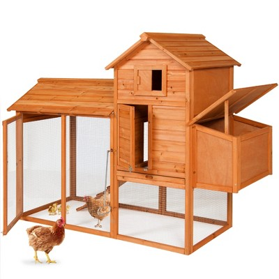 Best Choice Products 80in Wooden Chicken Coop Multi-Level Hen House, Poultry Cage w/ Wire Fence for 4 Birds, Farm