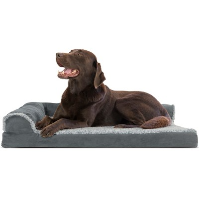FurHaven Two-Tone Faux Fur & Suede Deluxe Chaise Lounge Orthopedic Sofa Dog Bed