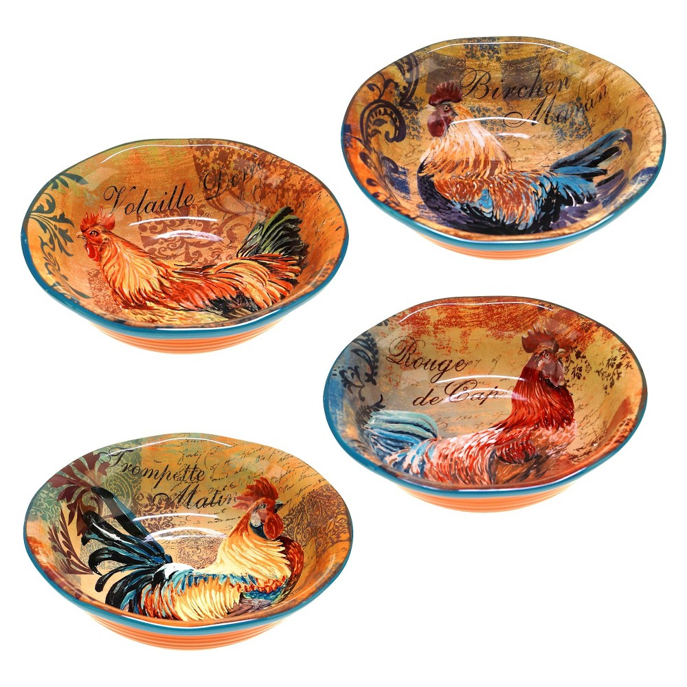 Certified International Rustic Rooster Soup/Pasta Bowls 40oz - Set of 4