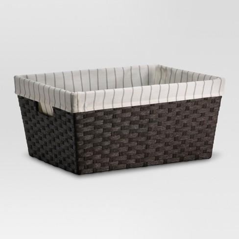 "17x12x8"" Large Lined Basket Dark Brown Weave - Threshold - image 1 of 2"