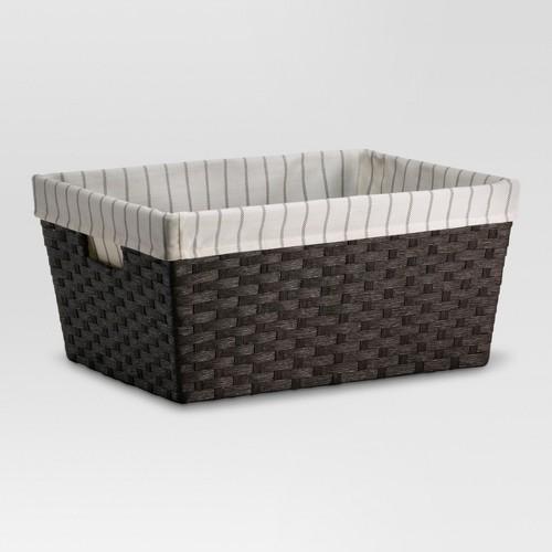 'Large Lined Basket Dark Brown Weave 8''x12'' - Threshold'