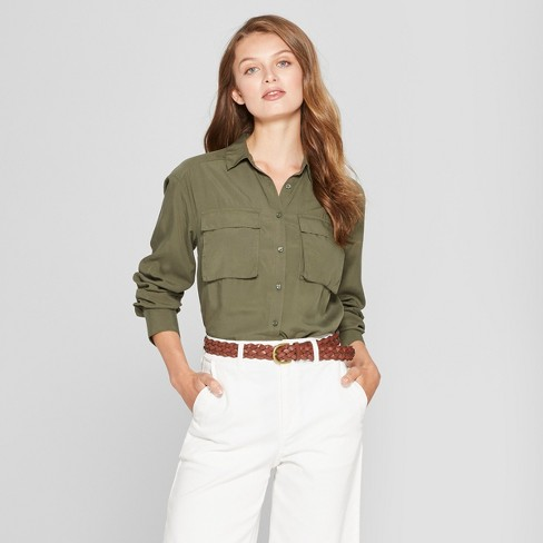 Women's Long Sleeve Utility Shirt - A New Day™ - image 1 of 3