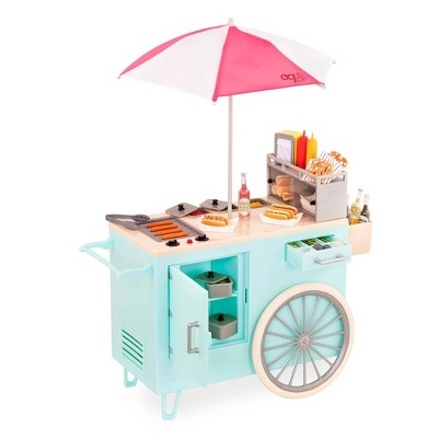 "Our Generation Hot Dog Cart Accessory with Play Food for 18"" Dolls - Retro Collection"
