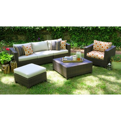 Biscayne 5 Piece Wicker Sectional Seating Patio Furniture Set