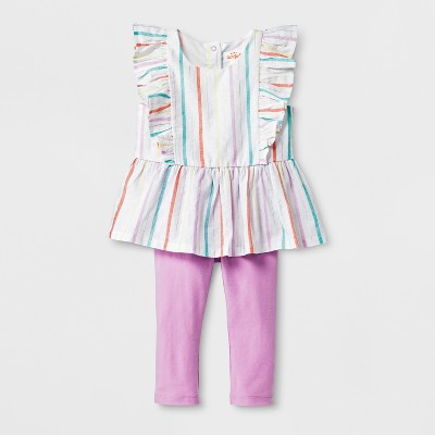 Baby Girls' 2pc Blouse and Pants Set - Cat & Jack™ Pink/Purple 0-3M