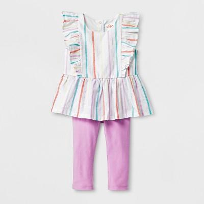 Baby Girls' 2pc Blouse and Pants Set - Cat & Jack™ Pink/Purple 6-9M