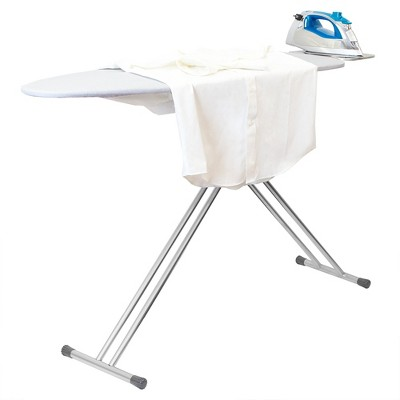 Home Basics T-Leg Ironing Board with Iron Rest and Machine Washable Cotton Cover