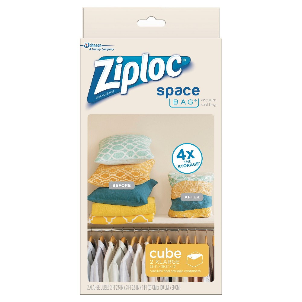 Ziploc 2 pack Cube Bags (Extra Large), Clear Need space? Simplify your life with Ziploc Space Bag products. Ideal for storing clothing. The Ziploc seal to secure your items. -Vacuum air out through the valve. For travel bags, roll out the air. -Store, stack, or hang your Ziploc Space Bag almost anywhere! Color: Clear. Age Group: Adult.