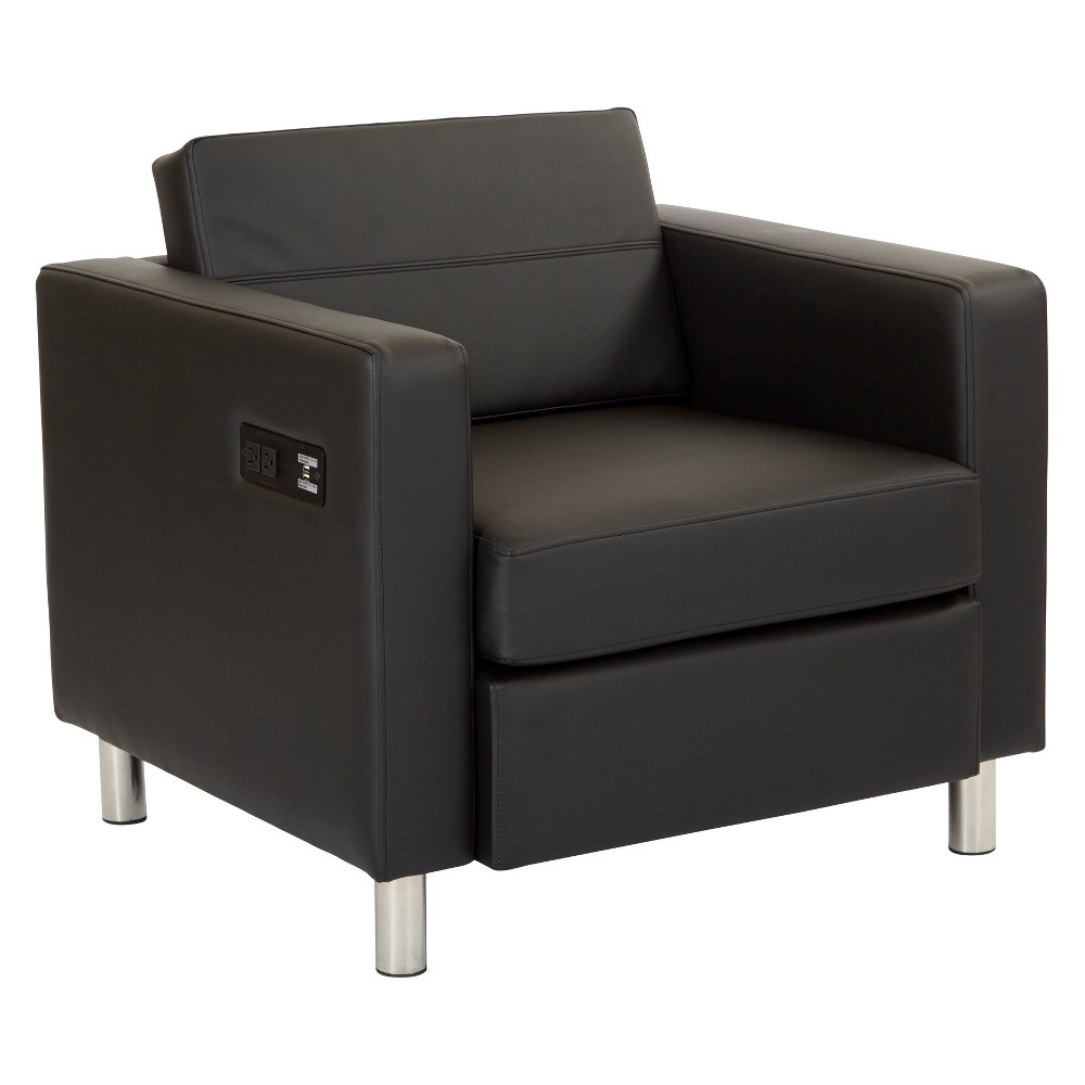Atlantic Chair With Single Charging Station Black - Osp Home Furnishings