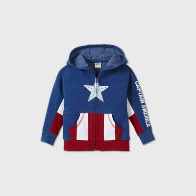 Toddler Boys' Captain America Cosplay Sweatshirt - Navy 4T