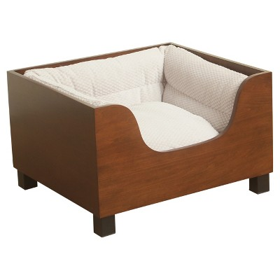 HomePop Decorative Wood Panel Dog Bed - Brown