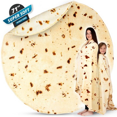 Zulay Giant Burrito Blanket Double Sided - Novelty Big Burrito Blanket for Adult and Kids - Premium Soft Flannel Round Burrito Tortilla Blanket for Indoors, Outdoors, Travel, Home and More