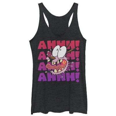 Women's Courage the Cowardly Dog Ahhh! Courage Scream Racerback Tank Top