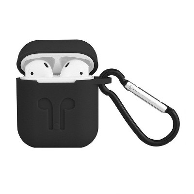 Valor Rubber Soft Silicone Case Cover w/ Hookups Compatible with Apple AirPods/AirPods 2, Black