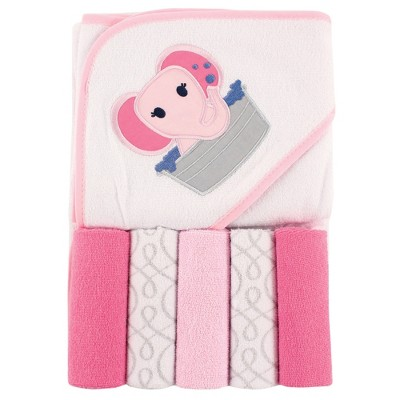 Luvable Friends Baby Girl Hooded Towel with Five Washcloths, Pink Elephant, One Size