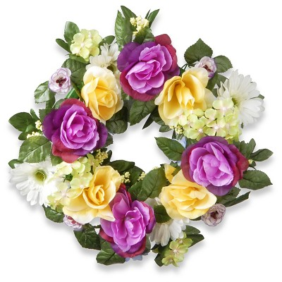 "Decorated Wreaths with Daisies Roses and Hydrangeas (18"")"