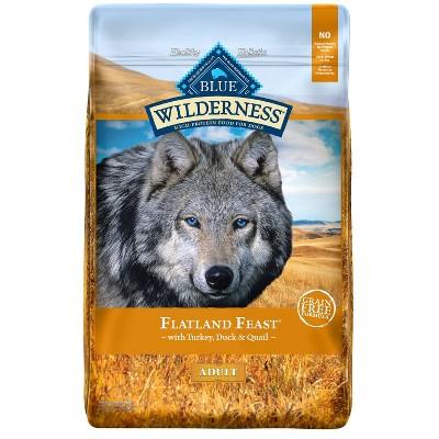 Blue Buffalo Wilderness Grain Free Flatland Feast with Turkey, Quail & Duck Dry Dog Food - 22lbs