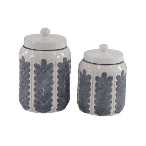 Set of 2 Modern Ribbed Stoneware Jars - Olivia & May - image 1 of 3