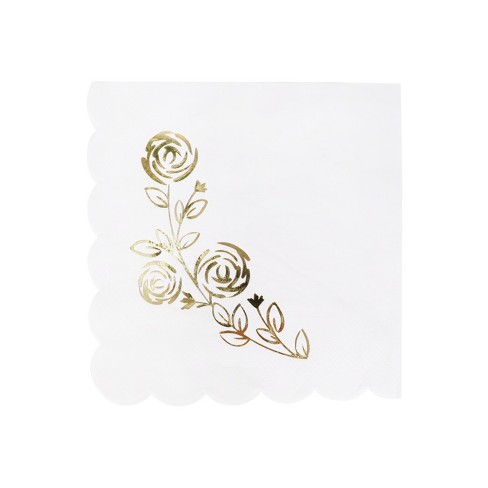 30ct Lunch Napkins White/Gold - Spritz™ - image 1 of 1