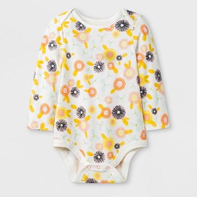 Baby Girls' Long Sleeve Lap Shoulder Floral Bodysuit - Cat & Jack™ Yellow 6-9M