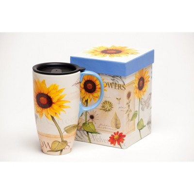 Evergreen  Latte Travel Cup , Yellow & Red Sunflowers