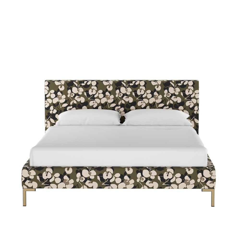 Full Daisy Platform Bed with Brass Metal Y Legs Neutral Floral - Cloth & Co.