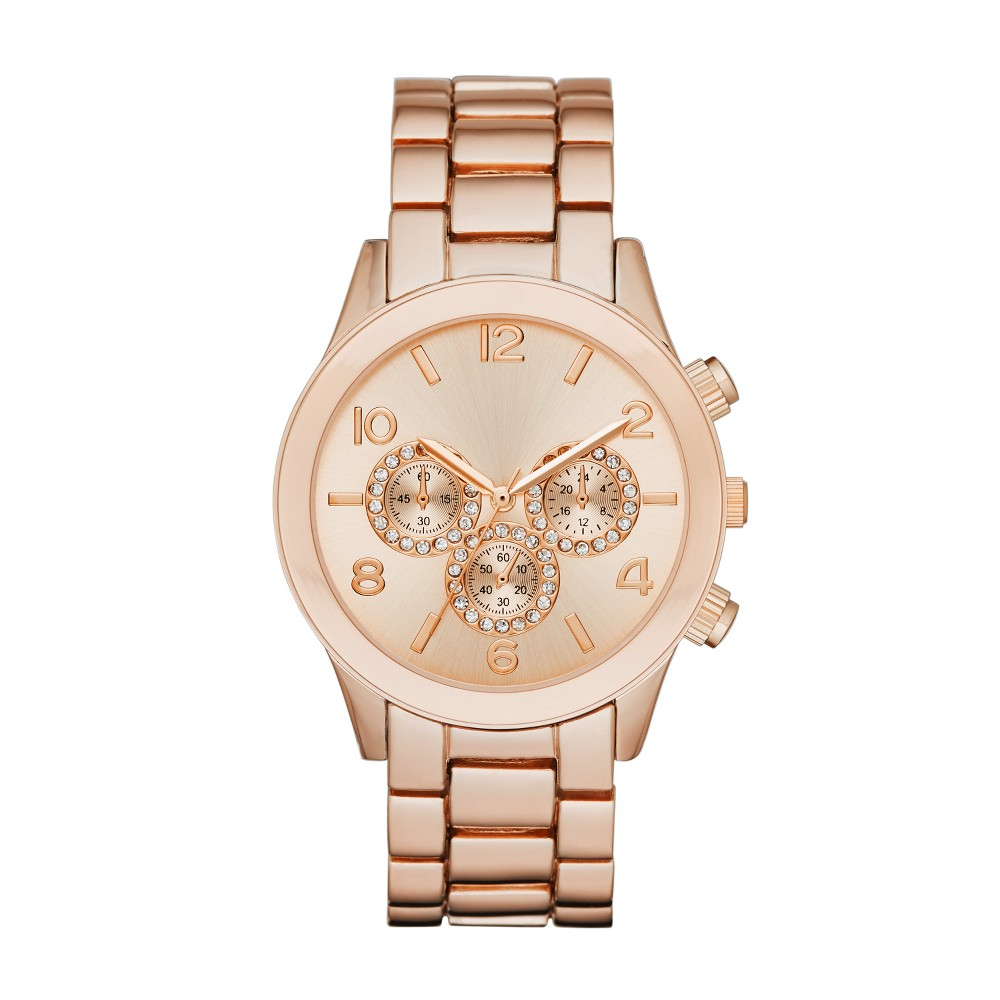 Image of Women's Glitz Dial Bracelet Watch - A New Day Rose Gold, Size: Small, Pink