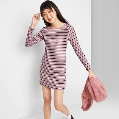 Women's Striped Long Sleeve Round Neck Knit Mini Dress - Wild Fable™ M